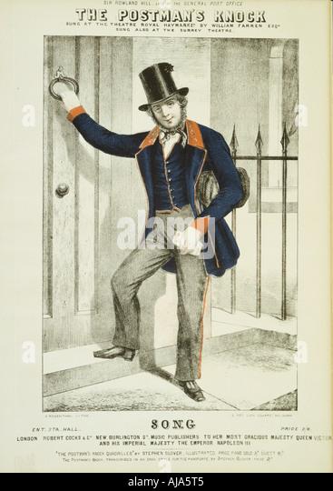The Postman s Knock c1855  - Stock Image