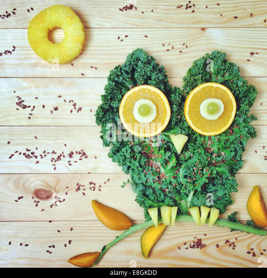 Food Arranged Into Picture Of An Owl - Stock Image
