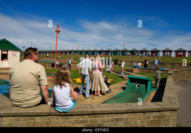Crazy golf putting course. Queen's Park. Mablethorpe. Lincolnshire. - Stock Image