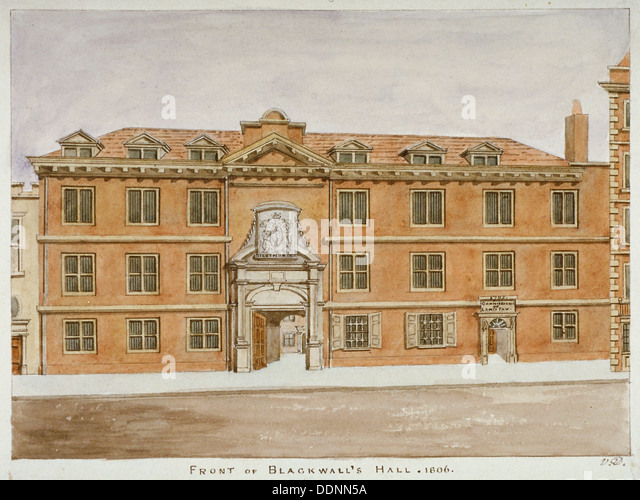 Front view of Blackwell Hall, City of London, 1806. Artist: Valentine Davis - Stock Image