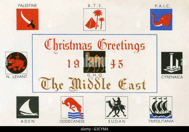Christmas Postcard from the 512 Field Survey Company, M.E.F. (Middle Eastern Force) - serving The Middle East. The - Stock Image