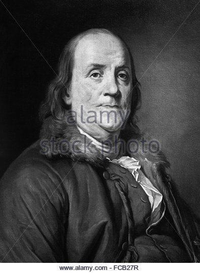 An early 20thC print of the Joseph Duplessis painting of Benjamin Franklin, c.1785 - Stock Image