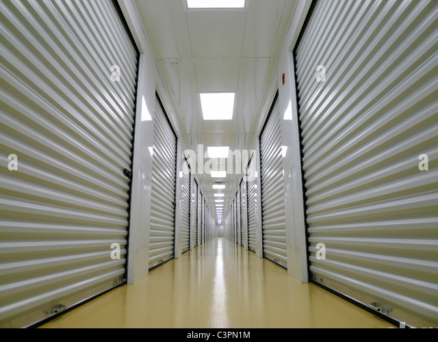Private Indoor Lockers of a Secure Storage Facility. - Stock Image