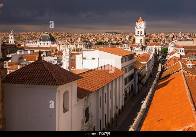 Historic City of Sucre seen from Iglesia Nuestra Senora de La Merced (Church of Our Lady of Mercy), UNESCO, Bolivia - Stock Image