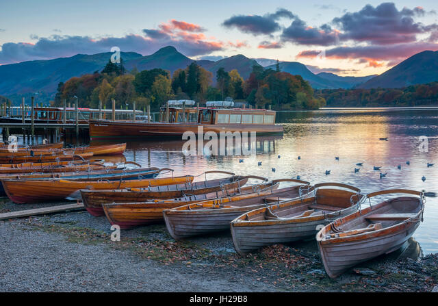 Rowing boats for hire, Keswick, Derwentwater, Lake District National Park, Cumbria, England, United Kingdom, Europe - Stock Image