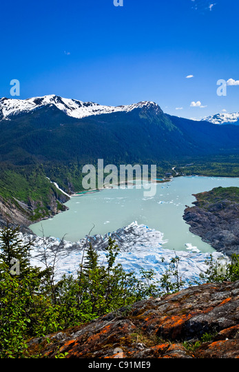 Scenic view overlooking Mendenhall Glacier and Mendenhall Lake from West Glacier Trail, Juneau, Southeast Alaska, - Stock Image