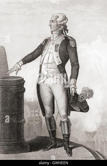 Marie-Joseph Paul Yves Roch Gilbert du Motier, Marquis de Lafayette, 1757 – 1834.  French aristocrat and military - Stock Image