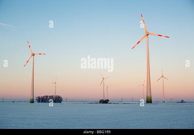 Wind farm in winter - Stock Image