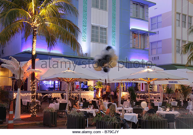 Miami Beach Florida Art Deco District Ocean Drive New Year's Eve night nightlife alfresco dining Casablanca - Stock Image