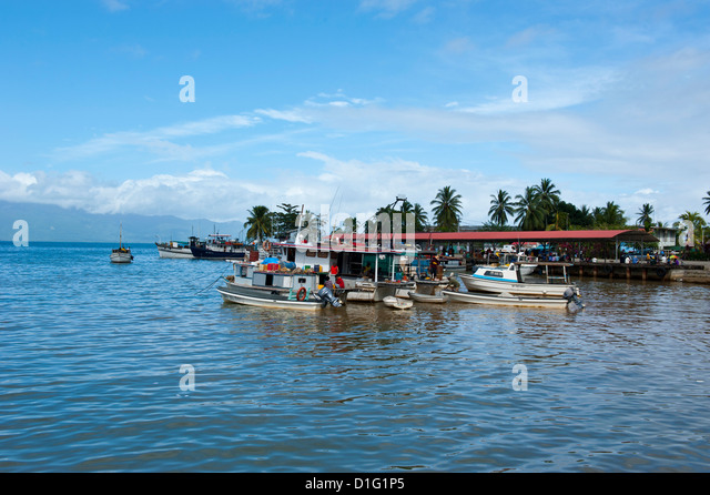 Fishing boats in the habour of Alotau, Papua New Guinea, Pacific - Stock Image