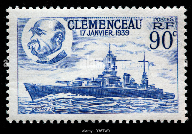 Georges Clemenceau and Battleship, postage stamp, France, 1939 - Stock Image