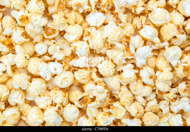 Close-up on a popcorn background - XXXL image - studio shot - Stock-Bilder