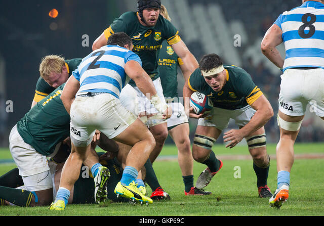 Nelspruit, South Africa. 20 August 2016. The South African National Rugby team in action against the Pumas at Mbombela - Stock Image
