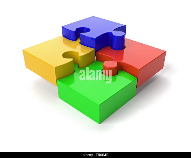 Four Jigsaw Puzzle Pieces on White Background - Stock Image