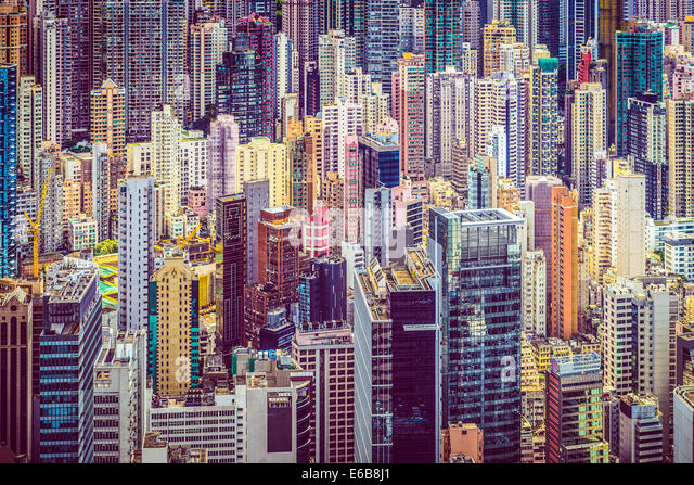 Hong Kong, China financial buildings cityscape. - Stock Image
