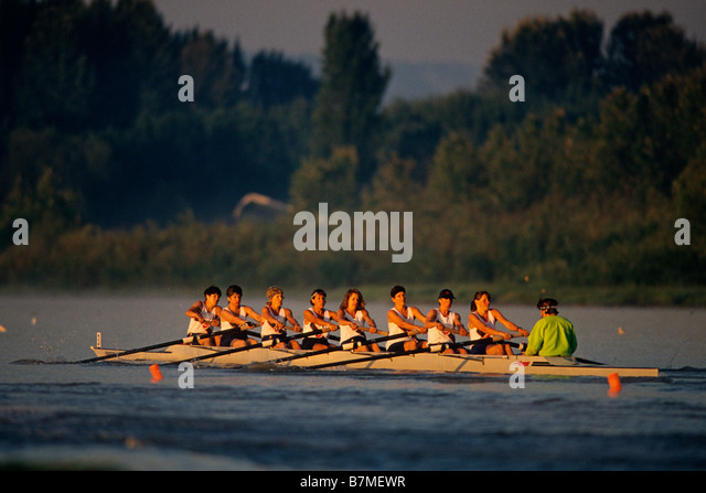 Women s eights rowing team in action - Stock Image
