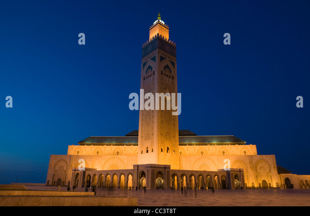 Morocco, Casablanca, Hassan II Mosque (b.1993) Holds 25,000 Worshipers and minaret is 210m tall-The Tallest Minaret - Stock-Bilder