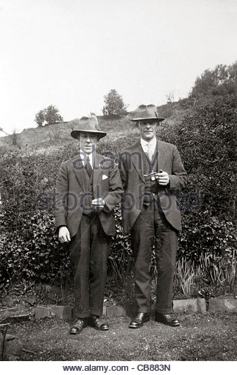 two male persons posing for an image countryside 1930s - Stock Image