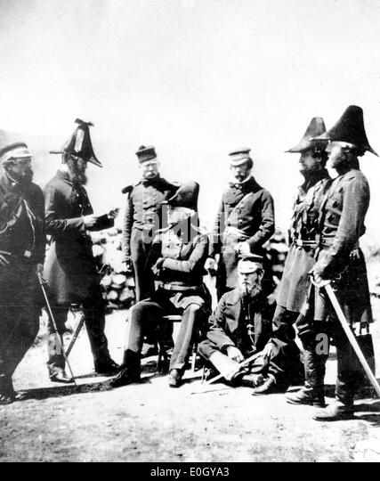 British General Sir George Brown with military staff during Crimean War - Stock Image