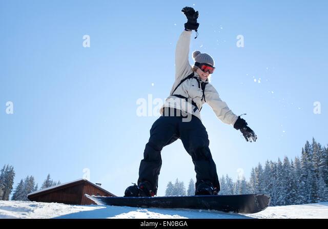 learning snowboard, amateur in ski school - Stock Image