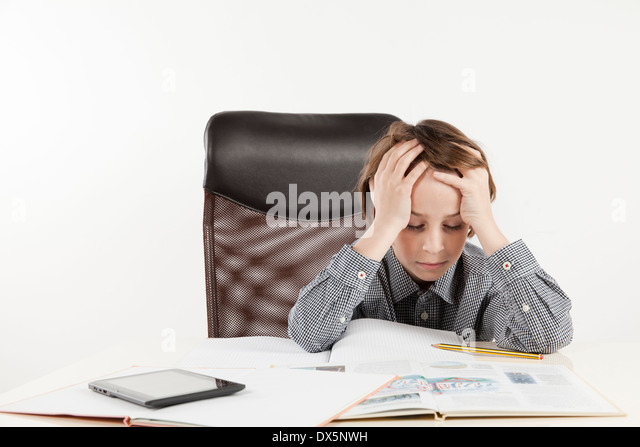 school boy hate learning on white background - Stock Image