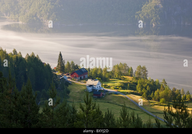 Early morning mist, Masfjorden, Hordaland, Norway - Stock Image