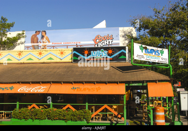 San Juan, Puerto Rico, colorful store fronts, building architecture isla verde district, caribbean island, travel - Stock Image