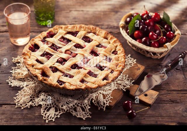 Cherry pie with lattice crust. - Stock Image
