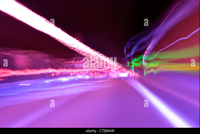 abstract speed motion in highway tunnel - Stock-Bilder