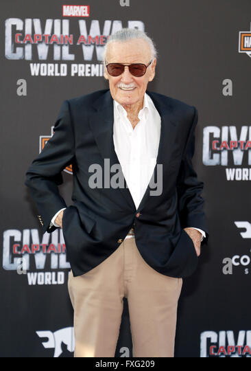 Hollywood, California, USA. 12th April, 2016. Stan Lee at the World premiere of 'Captain America: Civil War' - Stock Image