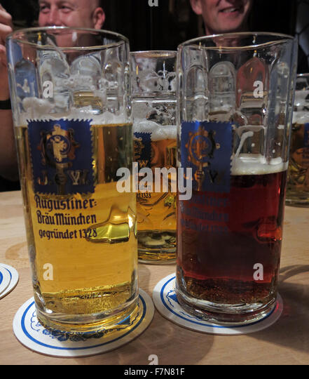 Oktoberfest in Munich,Baveria,Germany,three beers - Stock Image