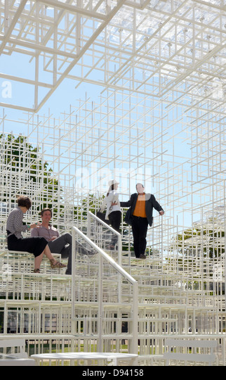 Serpentine Gallery Pavilion 2013 designed by Japanese Architect Sou Fujimoto, London, UK - Stock Image