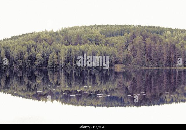 Polaroid transfer of a lake - Stock Image