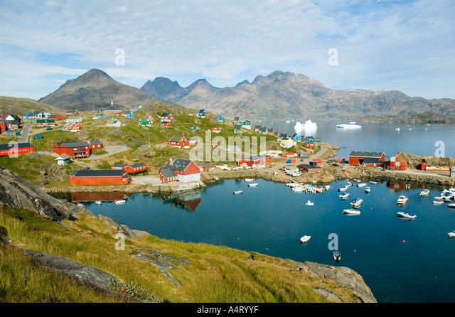 The harbour at Tasiilaq, Angmagssalik Island, Sermilik Fjord, East Greenland - Stock Image