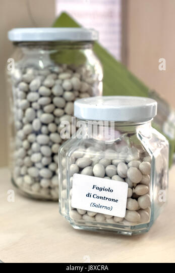 Typical white bean from Controne, Campania, Italy,Europe. - Stock Image