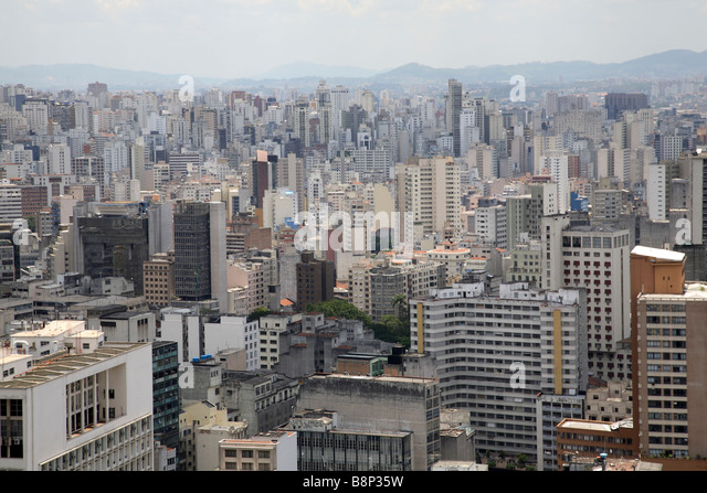 City skyline of Sao Paulo in Brazil - Stock Image