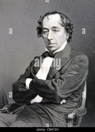 Antique engraving of The Right Honourable Benjamin Disraeli KG PC FRC (1804-1881) - Stock Image