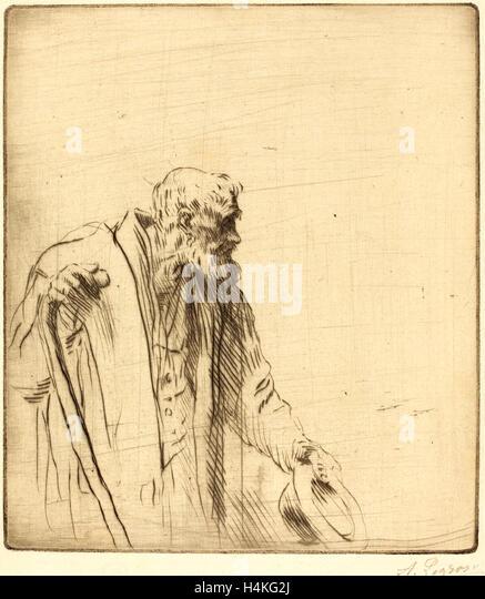 Alphonse Legros, Beggar (Un mendiant), French, 1837-1911, drypoint - Stock-Bilder