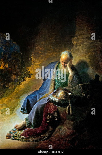 Jeremiah lamenting the destruction of Jerusalem 1630  Rembrandt Harmenszoon van Rijn Dutch 1606–1669 Netherlands - Stock Image