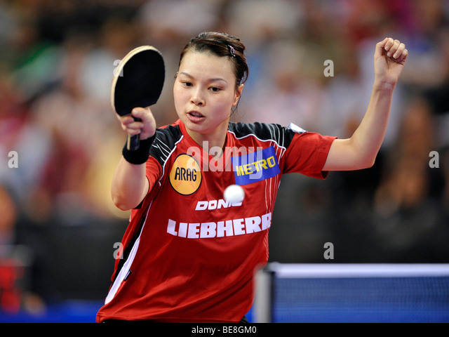 European champion Jiaduo WU, Germany, table tennis EM 2009, Porsche-Arena, Stuttgart, Baden-Wuerttemberg, Germany, - Stock Image