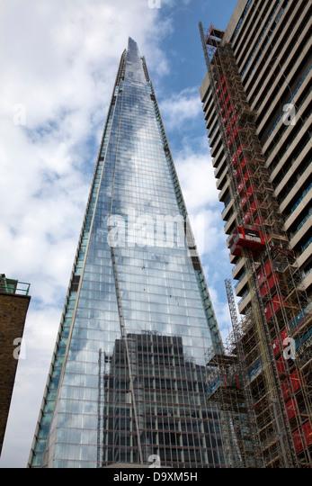 Shard Reflection Construction Works on Tower Wing at Guys and St Thomas Hospital Alongside - London UK - Stock Image