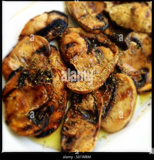 Grilled mushrooms - Stock Image