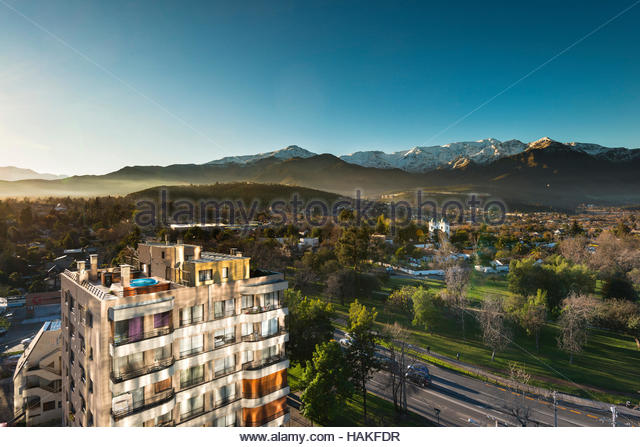 Pueblito Los Dominicos neighborhood in Las Condes, Santiago with Los Dominicos Church and the Andes in the distance - Stock Image