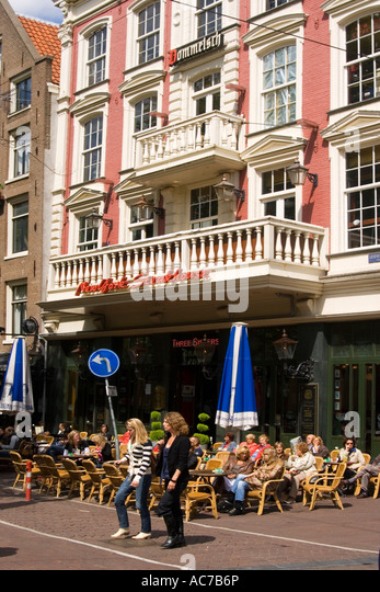 Amsterdam Leiseplein street cafe - Stock Image