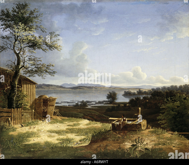 fine arts, romanticism, painting, landscape at the Osterseen, unknown artist, 1802, oil on canvas, 37,5x45 cm, private - Stock Image