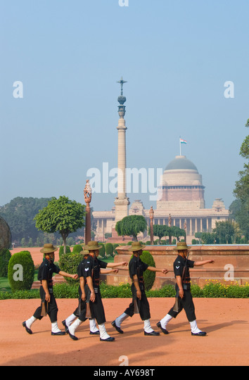 Guards at the Presidential Palace in Delhi in India - Stock Image