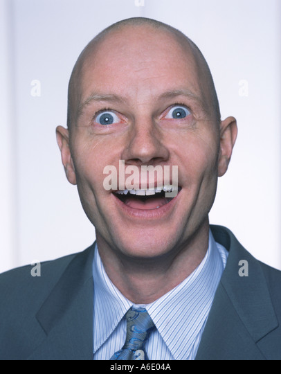 Unexpected suprise middle aged man portrait - Stock Image