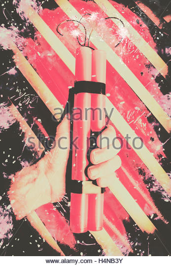 Artistic vintage comic art on a hand making a bomb blast threat in stripes of retro terror. Bomber man hand - Stock Image