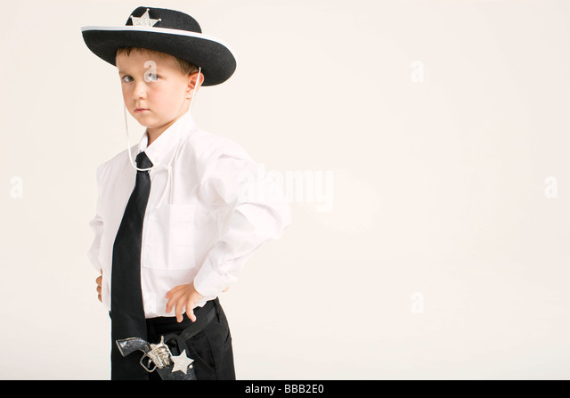 party boy dressed as sheriff - Stock Image