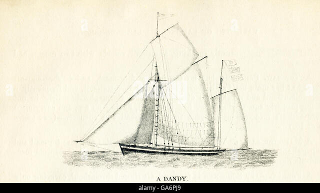 The ship shown here is a dandy. The illustration dates to the 1800s. - Stock-Bilder